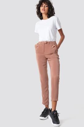 NA-KD Na Kd Shiny Suit Pants Dusty Dark Pink