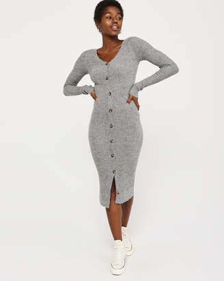 Abercrombie & Fitch Button-Up Midi Sweater Dress