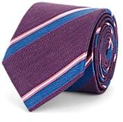 Barneys New York Men's Striped Linen-Silk Necktie - Purple