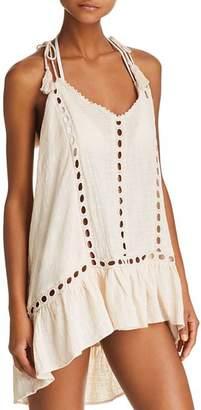 Surf Gypsy Embroidered Trim Gauzy Dress Swim Cover-Up