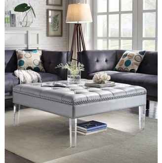 clear Chic Home Poe PU Leather Modern Contemporary Button Tufted Acrylic Legs Ottoman, Silver