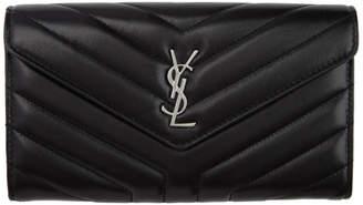 Saint Laurent Black Large Loulou Flap Wallet