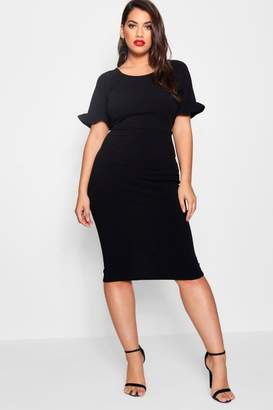boohoo Plus Crepe Ruffle Tailored Midi Dress
