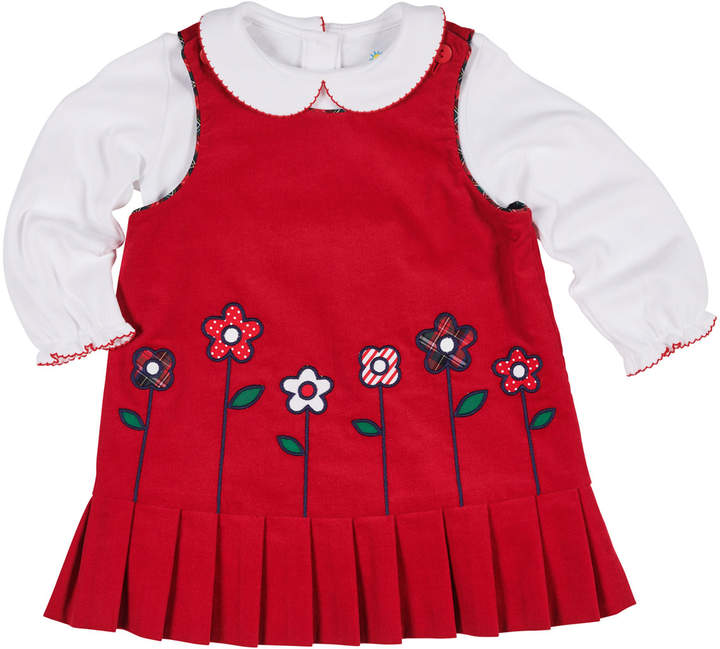 Florence Eiseman Corduroy & Tartan Plaid Reversible Jumper w/ Peter Pan-Collar Top, Size 12-24 Months