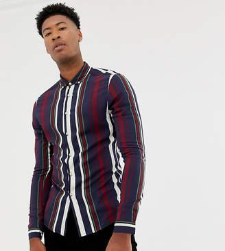 Asos DESIGN Tall skinny stripe shirt in navy & burgundy