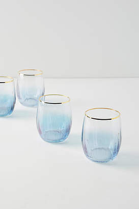 Anthropologie Waterfall Stemless Wine Glasses, Set of 4