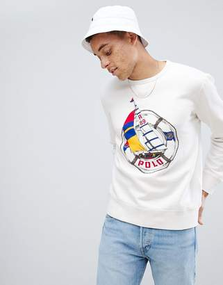 Polo Ralph Lauren Cp-93 Capsule Sailboat Large Logo Sweatshirt In White
