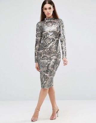 Club L Brocade Sequin High Neck Detail Midi Dress $61 thestylecure.com