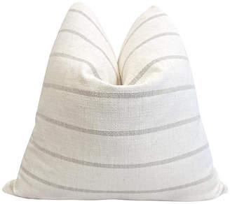 One Kings Lane Vintage French Natural Linen Sand Stripe Pillow
