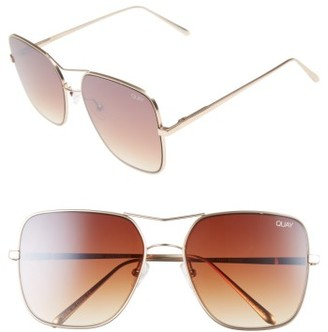 Quay Women's Stop & Stare 58Mm Square Sunglasses - Gold/ Brown