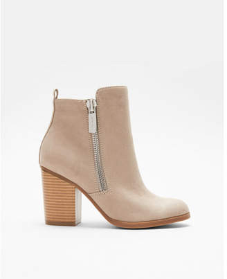 Express zip block heel booties