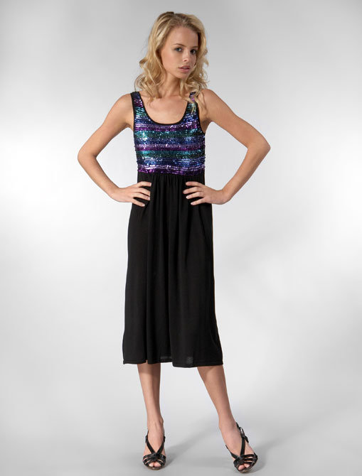 Built by Wendy Cotton Sweater Sequined Tank Dress in Rainbow