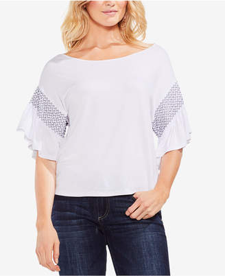 Vince Camuto Smocked Drop-Shoulder Top
