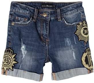 John Richmond Distressed Denim Shorts W/ Lurex Patches