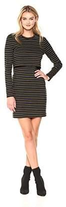 Nicole Miller Women's Vintage Stripe Pop Over Sweatshirt Dress