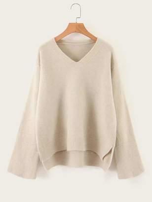 Shein V-neck Drop Shoulder High Low Sweater