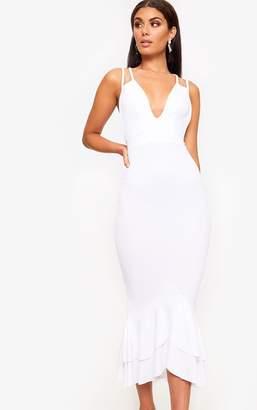 PrettyLittleThing White Strappy Fishtail Midi Dress