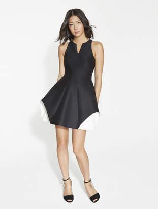 Halston Silk Faille Color Block Dress