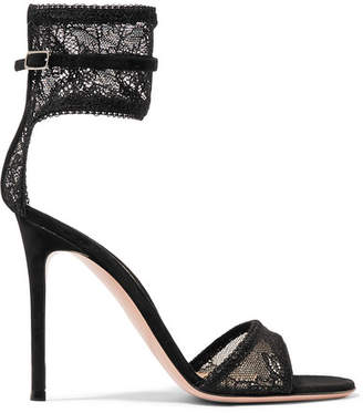 Gianvito Rossi 105 Stretch-lace And Suede Sandals - Black