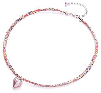Glass Heart Amanti Venezia Liberty Ribbon and Sterling Silver with Light Amethyst Murano Necklace of Length 39-45 cm