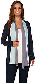 LOGO by Lori Goldstein Cotton Cashmere ColorBlock Cardigan