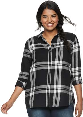 So Juniors' Plus Size SO Button-Front Flannel Shirt