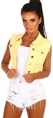Pink Boutique Malibu Dreams Lemon Denim Waistcoat
