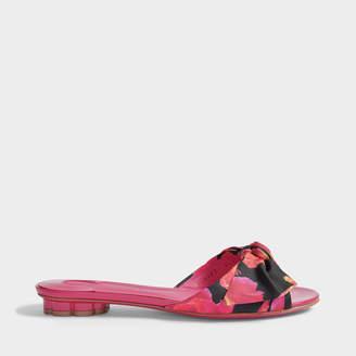 Salvatore Ferragamo Chianni Patent and Scarf Print Slide Shoes in Fuchsia Patent Leather