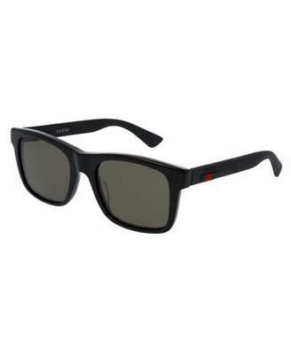 Gucci Acetate Rectangular Sunglasses w/Web Detail, Black $345 thestylecure.com