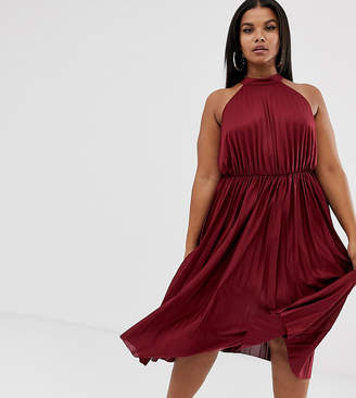 Asos DESIGN Curve high neck pleated midi dress