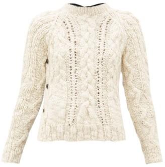 La Fetiche - Marilyn Cable Knit Wool Sweater - Womens - Black Cream