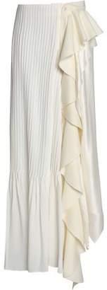 J.W.Anderson Asymmetric Plissé Ruffled Silk-Satin Midi Skirt