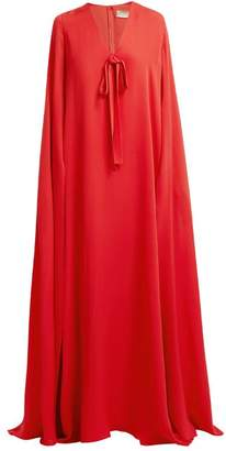Elie Saab Cape Sleeve Silk Crepe Gown - Womens - Coral