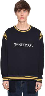 J.W.Anderson Logo Cotton Sweatshirt W/ Knit Stripes