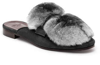 Bougeotte Suede and Chinchilla Fur Loafer Mules
