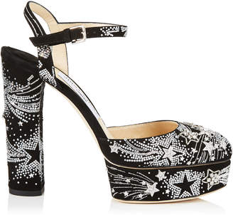 Jimmy Choo MAPLE 125 Black Suede Platform Pumps with Supernova Crystals