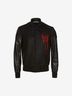 Alexander McQueen Soft Lambskin And Cotton Doeskin Embroidered Varsity Jacket