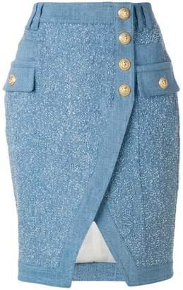 Balmain embossed-button skirt
