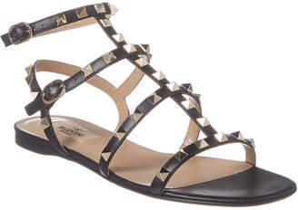 Valentino Rockstud Ankle Strap Leather Flat
