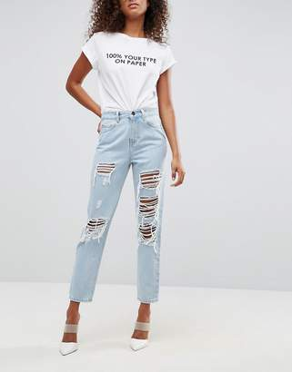 Asos Design ORIGINAL MOM Jeans in Dex Aged Wash with Rips and Busts