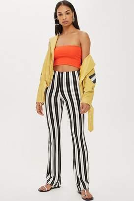 Topshop Monochrome Stripe Flared Trousers