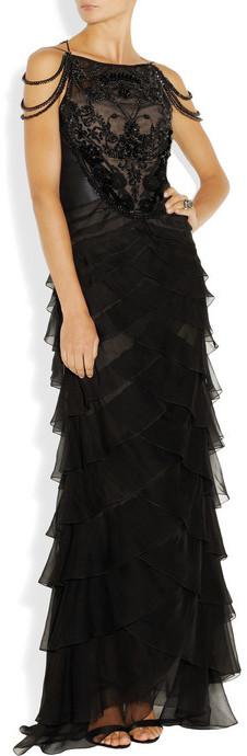 Alberta Ferretti Embellished silk-dupioni and silk-chiffon gown