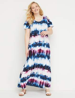 Lane Bryant Tie-Dye Cold-Shoulder Maxi Dress