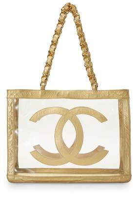 Chanel Gold Vinyl Flat Handle Chain Tote