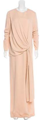 Lanvin Pleat-Accented Maxi Dress w/ Tags