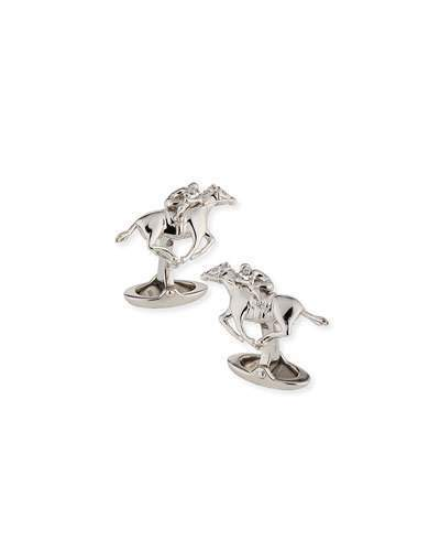 Alfred Dunhilldunhill Rhodium-Plated Sterling Silver Racing Horse Cuff Links
