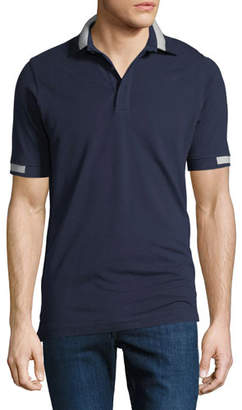 Kiton Men's Pique Knit Cotton Polo Shirt, Navy Blue