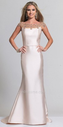 Dave and Johnny Beaded Applique Off the Shoulder Evening Dress $437 thestylecure.com