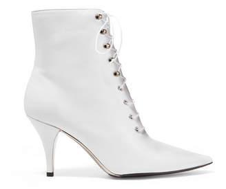 Calvin Klein Rosemarie Lace-up Leather Ankle Boots - White