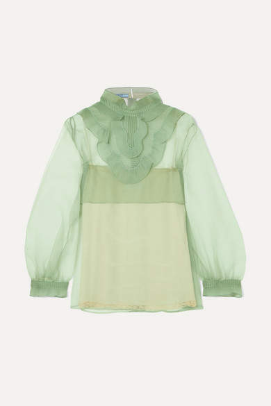 Prada - Ruffled Organza Blouse - Mint